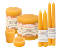 Variety of Different Homemade Beeswax Candles